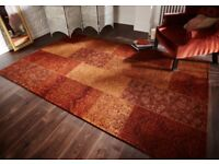 Patchwork Chenille floor Rug, Terracotta Colour, Hardwearing and Easy To Clean