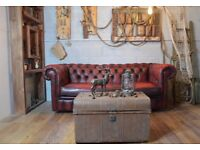 Chesterfield Vintage Leather 3 Seater Sofa Couch Ox- Blood