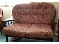*FREE* Dark wood, fabric, 2 seater sofa