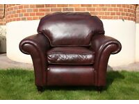 Laura Ashley Leather Mortimer Armchair / Chair.