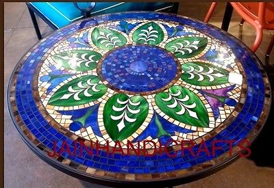 "42"" DINING BREAKFAST LUNCH COFFEE CORNER TABLE TOP BLUE INLAY LAPIS MALACHITE"