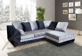 BRAND NEW THE CRUSHED VELVET 3+2 or CORNER SOFA BLACK OR BLACK AND SILVER FAST DELIVERY