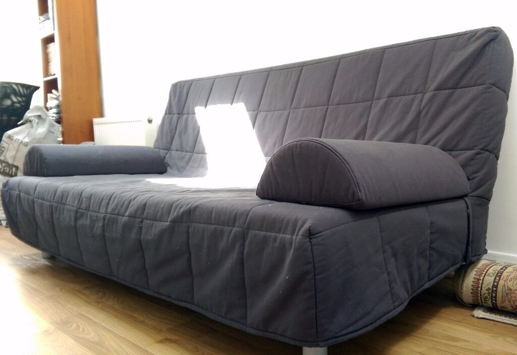 ikea beddinge 3 seater sofa bed dark blue grey with armrests and cushions in timperley. Black Bedroom Furniture Sets. Home Design Ideas