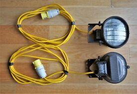 2 x Defender Tungsten Halogen Floodlight 110v AS NEW CONDITION