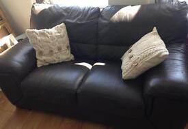 Beautiful chocolate brown Italian leather sofa