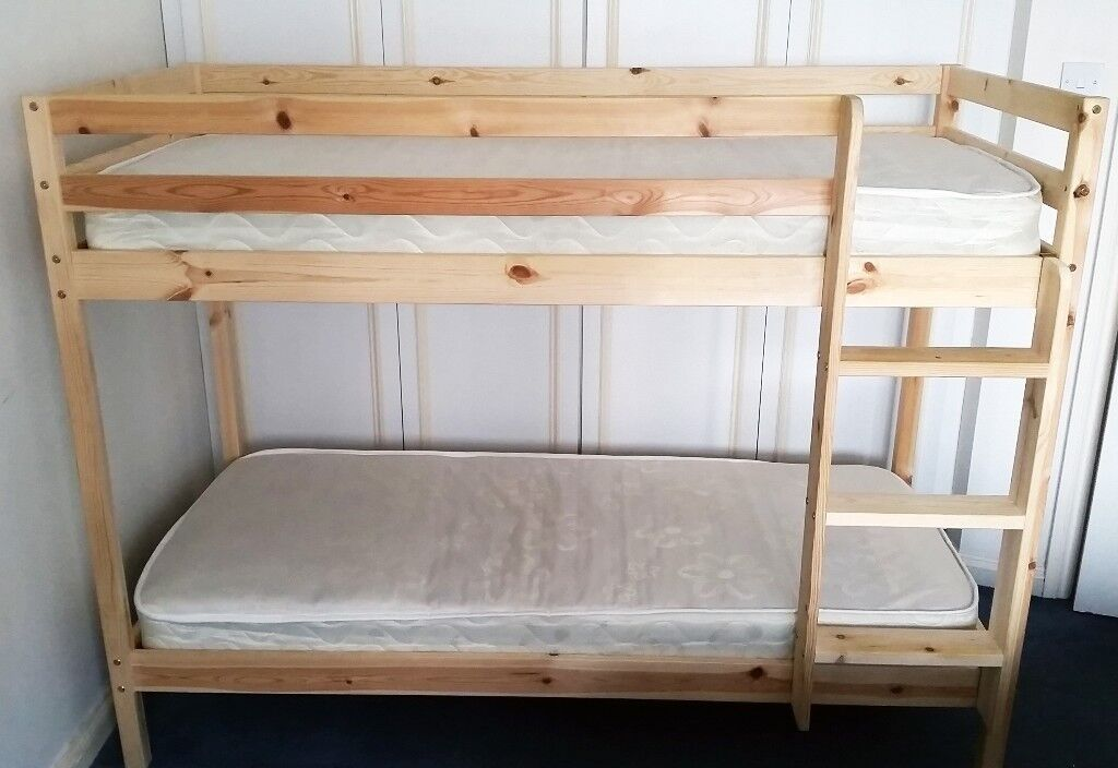 Wooden Bunk Bed Kids 2ft6 Shorty In Natural Pine Small Single 2