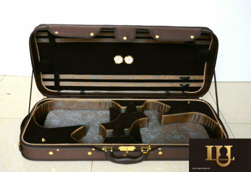Top Quality Wooden Structure Double Violin Case  Coffee Color Free shipping
