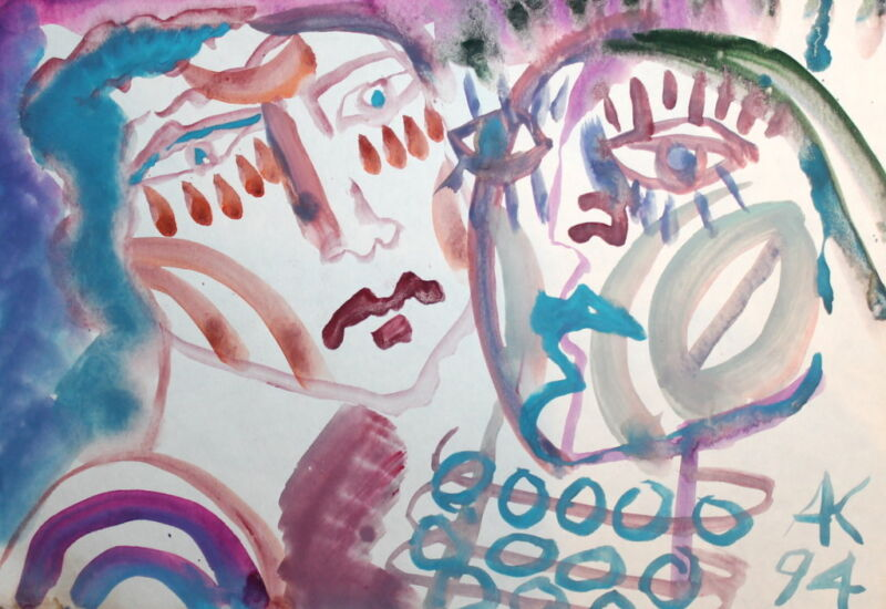 ABSTRACT EXPRESSIONIST ART FACES WATERCOLOR DRAWING SIGNED