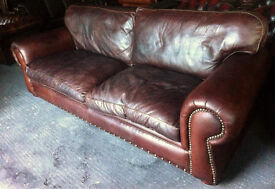 Brown leather 4 seater Chesterfield sofa...8 foot 8 inches long