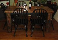 Rustic Reclaimed Harvest Table with 6 Chairs