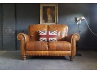 608 Cesterfield Brown Leather vintage & distressed 2 Seater Sofa