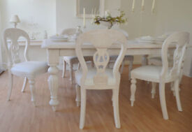 *** WOW *** GREAT DEAL *** !!! BEAUTIFUL !!! French Antique Shabby Chic Dining Table & Six Chairs !!