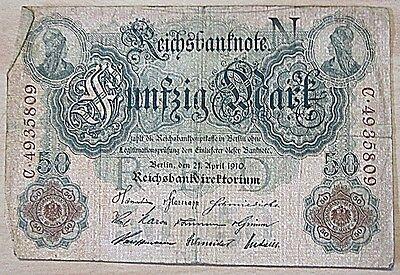 Deutsches Reich Banknote vom 21.April 1910 Reichsbanknote Fünfzig Mark-gebraucht