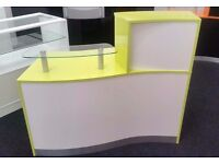 Reception Desk in High Gloss Lime Green and High Gloss White