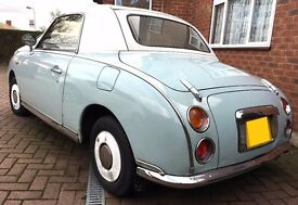 Blue/White Nisan Figaro 1.0 turbo convertible, automatic, leather upholstery, aircon, Elec windows
