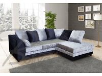 Very nice BRAND NEW black and silver crushed velvet corner sofa. can deliver