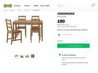 Ikea Jokkmokk Table and 2 chairs