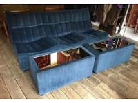 Retro Ligne Roset Style Blue Sofa With Two Mirrored Side Tables