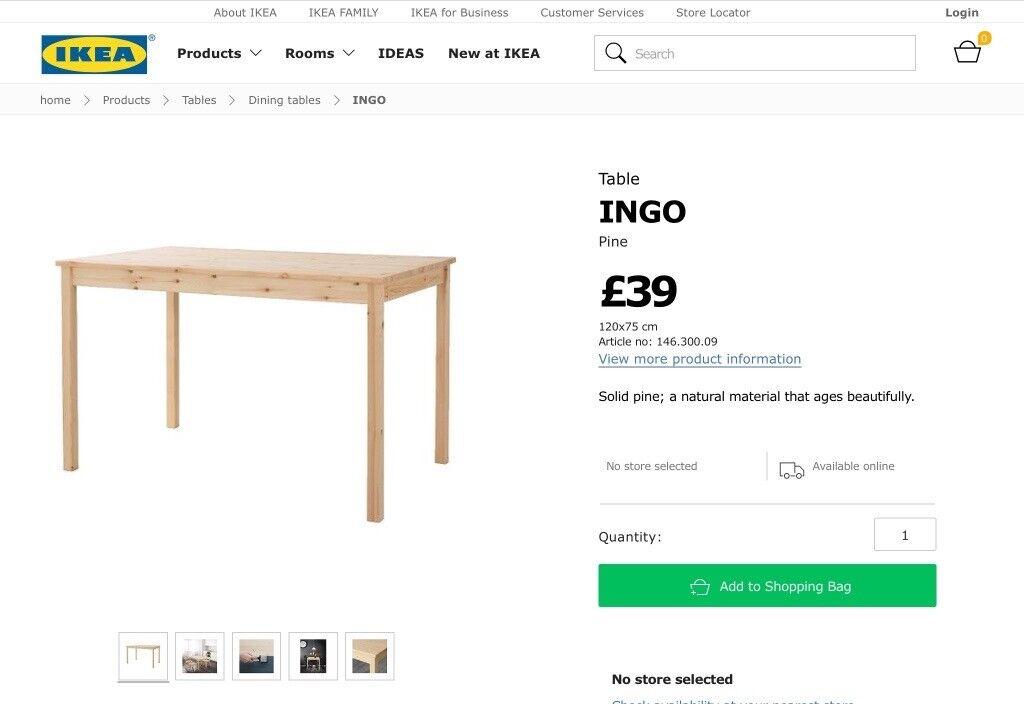 Pine wood table Ikea (Ingo)