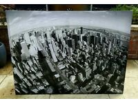 FREE TO COLLECTOR TODAY - Giant Black & White Cityscape Canvas (Marked/Damaged)
