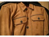 Triumph Shirket Scrambler Tan Leather Riding Motorcycle Jacket - MEDIUM Size