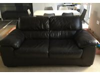 Brown Leather 2 Seater Sofa REDUCED FOR QUICK SALE