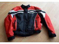 FIELDSHEER MENS MOTORCYCLE PADDOCK STYLE JACKET RED/WHITE/BLACK SIZE 3XL