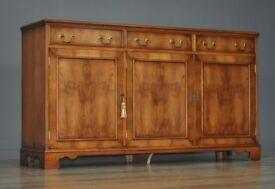 Attractive Vintage Yew Wood Reprodux Triple Door Sideboard Cabinet