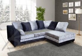 Really nice BRAND NEW black and silver crushed velvet corner sofa ,good quality ,can deliver