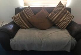 Sofa set brown leather, contact for details please :)