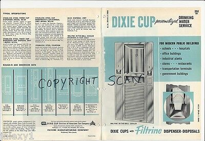 1964 DIXIE Paper CUPS Filtrine Drinking Fountain Water Cooler Dispenser Catalog