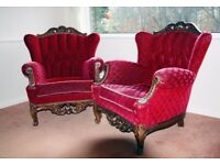 ARM CHAIRS WING BACK QUEEN ANNE STYLE