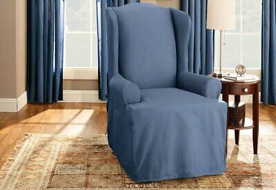 New in package Sure Fit Cotton Duck Wing Chair T-Cushion Slipcover Bluestone