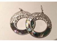 Silver sea shell enamel earrings