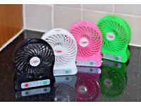 BRUSHLESS DESK FAN TABLE SMALL QUIET RECHARGEABLE USB TRAVEL 3 SPEED & BATTERY.*