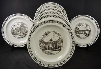 Eight Brown Transfer Wedgwood Plates   Westminster School   Simsbury Connecticut