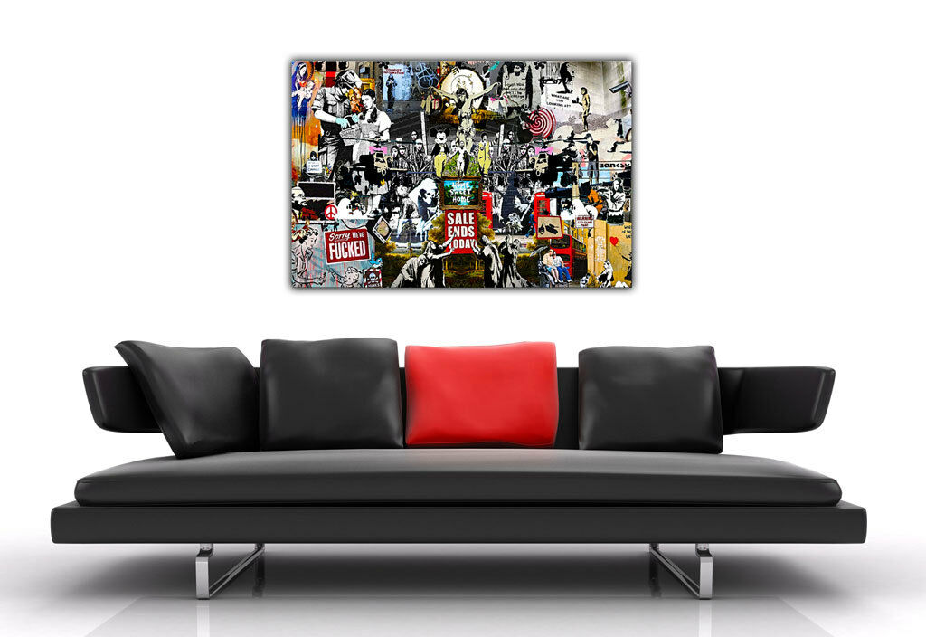 large banksy canvas collage prints wall art graffiti best of