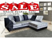 50% OFF SALE BRAND NEW THE CRUSHED VELVET 3+2 or CORNER SOFA BLACK OR BLACK AND SILVER FAST DELIVERY