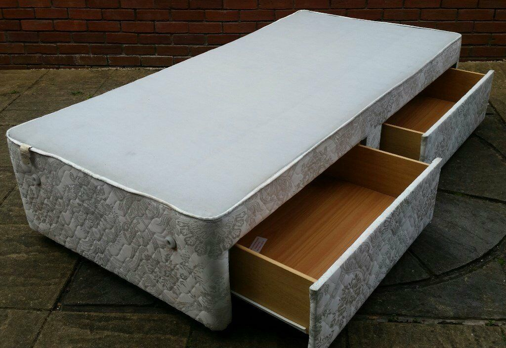 Single Divan Bed Base With Sprung Top And 2 Drawers On Wheeled Gliders In Good Condition