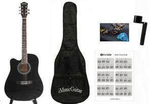 Left handed Acoustic Guitar Black 41 inch Full Size Cutaway iMusic810LF with Package