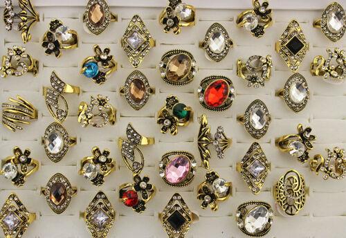30pcs Women Jewelry Mixed Lots Wholesale Assorted Retro Rhinestone Gold P Rings