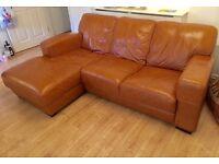 Tan Brown Leather Corner Sofa