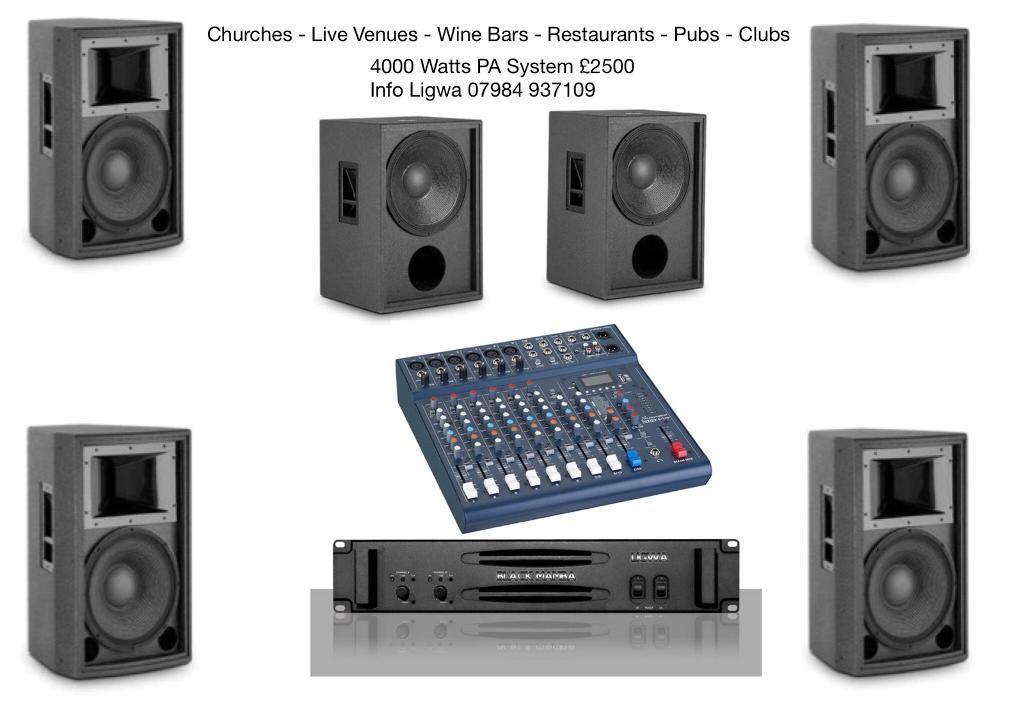 sound System For Church PA - Live Venue PA - Wine Bar Clubs - Restaurants and installations
