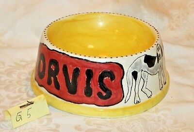 "Hand painted by Donna Ceramic/Stoneware DOG FOOD BOWL | Personalized "" Orvis"""
