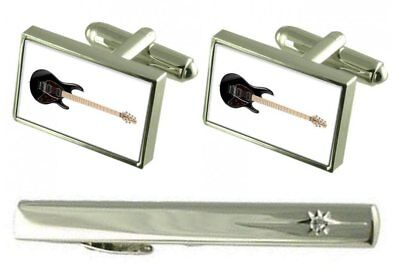 Gift Set Tie Clip Electric Guitar Cufflinks