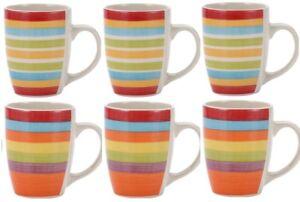 Renberg Set of 6 Striped Coffee Mugs. Stoneware Mugs Bright Colours Striped