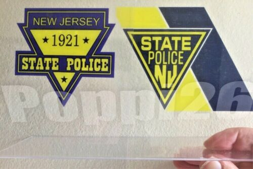 NJ  NJSP (2) New Jersey State Police OFFICIAL IN/window Faces Out Decal Sticker