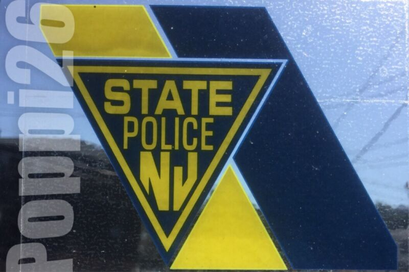 NJ NEW JERSEY STATE POLICE OFFICIAL In/Window FaceOUT DECAL CHEVRON STICKER NJSP