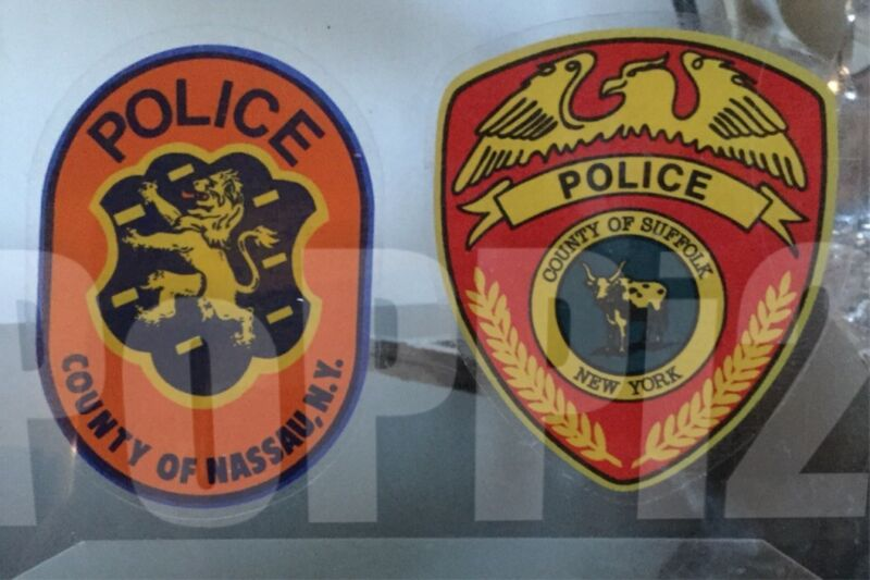"""NASSAU + 1 SUFFOLK COUNTY POLICE """"OFFICIAL"""" WINDOW DECAL STICKER Faces/OUT LI NY"""