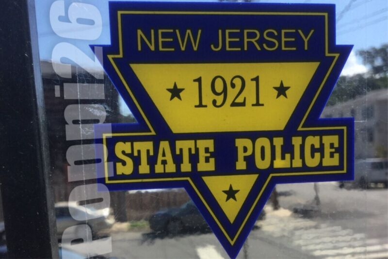NJ NJSP NEW JERSEY STATE POLICE OFFICIAL InWINDOW FACES OUTSIDE Decal Sticker